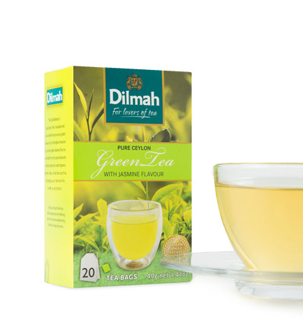 Pack of Green Tea with Jasmine Flavour and Cup of Tea