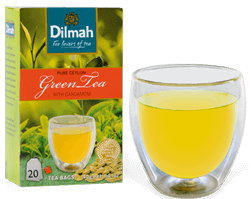 Pack of Dilmah Green Tea and a Glass of Green Tea