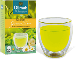 Glass of Green Tea and Green Tea Pack
