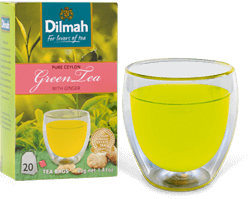 Glass of Green tea and Dilmah Green Tea Pack