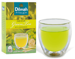 Pack of Green Tea by Dilmah and a Tea Glass