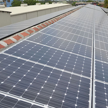Solar Panels on a Factory Roof