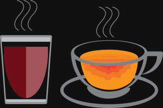Animated Glass of Tea and Cup of Tea