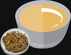 Animated Light Colour Tea with Tea Leaves next to it