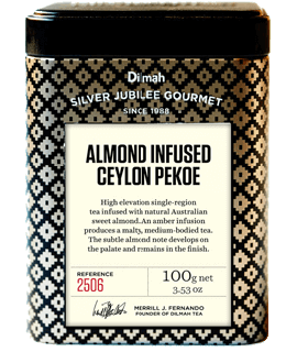 Container of Almond Infused Pekoe by Dilmah