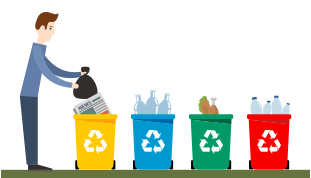 Animated Picture of a Man Recycling
