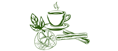 Sketched Cup of Tea, Lemon, Peppermint and Cinnamon