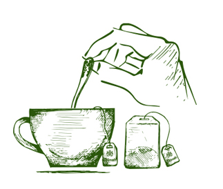 Sketched Tea Cup with Tea Bag and Hand Stirring the Cup