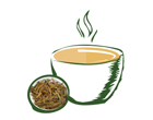 Animated White Cup of Tea with Tea Leaves